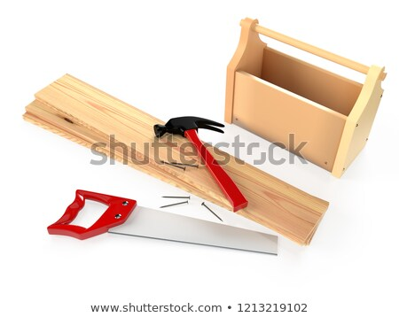 hammer hacksaw wooden planks and nails on white background is stock photo © nobilior