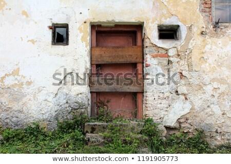 Foto stock: Quebrado · janela · dois · casa · casa · fundo