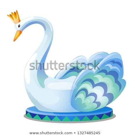 статуя · лебедя · корона · изолированный · белый · вектора - Сток-фото © Lady-Luck