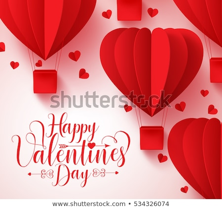 Red balloons for Valentine day card Vector realistic. Romantic party invitattion. detailed 3d balloo Stock photo © frimufilms