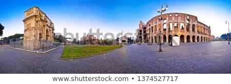 colisée · arc · carré · panoramique · aube · vue - photo stock © xbrchx