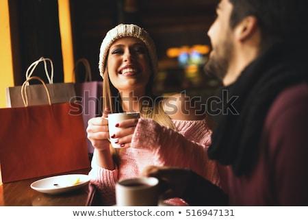 portre · çift · içme · çay · mutfak · kadın - stok fotoğraf © deandrobot