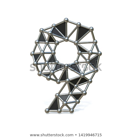 Wire low poly black metal Number 9 NINE 3D Stock photo © djmilic