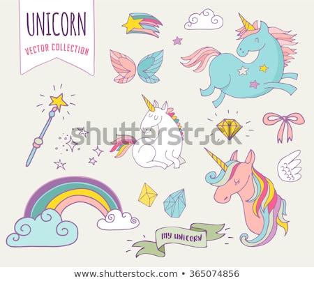 Magic hand drawn pattern - unicorn, rainbow and fairy wings Stock photo © marish