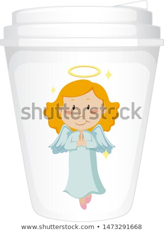 paper cup template with happy angel stock photo © bluering