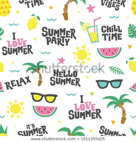 nyár · buli · meghívó · mobil · közösségi · média · szalag · nyáridő - stock fotó © robuart