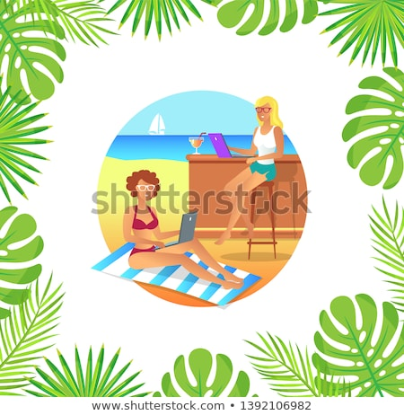 Female Working with Laptop on Mat, Beach Vector Stock photo © robuart