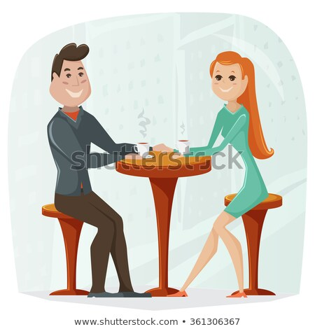 two young people in love on date in cafe vector stock photo © robuart