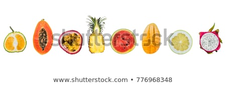 banner a lot of different tropical fruits cut halves isolated on white long format stock photo © galitskaya
