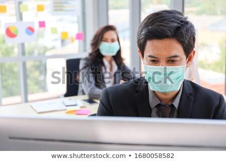 Homme grippe travail bureau travaux affaires Photo stock © Elnur