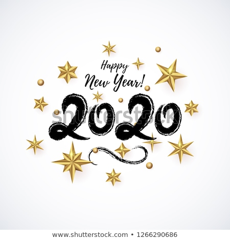 2020 Happy New Year illustration with 3d typography lettering, and Christmas ball on white backgroun Stock photo © articular