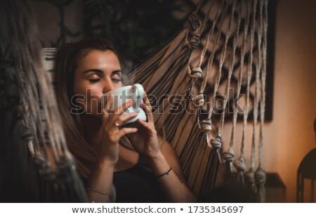 Sonhador mulher caneca varanda bastante em pé Foto stock © vkstudio