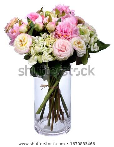 白 バラ ガラス 花瓶 花束 ストックフォト © dashapetrenko