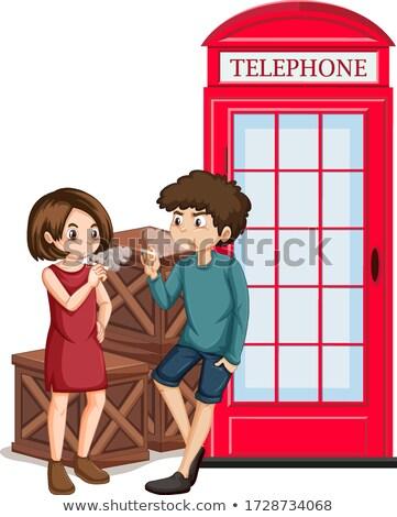 Escena personas fumar teléfono cabina Foto stock © bluering