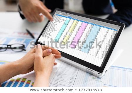 アナリスト 作業 スプレッドシート コンピュータの画面 コンピュータ オフィス ストックフォト © AndreyPopov