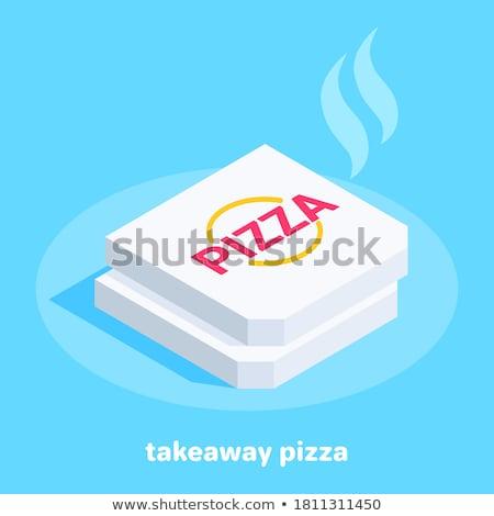 Caixa de pizza isométrica ícone vetor assinar cor Foto stock © pikepicture