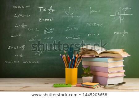 Tebeşir tahta kitaplar okula geri elma renkli Stok fotoğraf © stockfrank