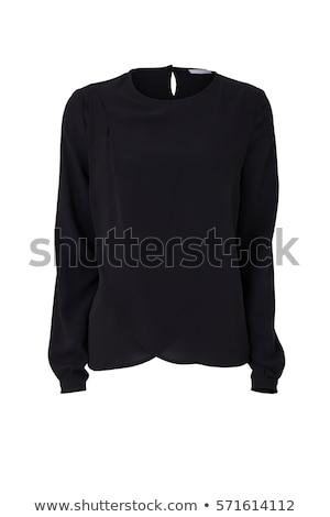 zwarte · blouse · mooie · slank · brunette · meisje - stockfoto © disorderly
