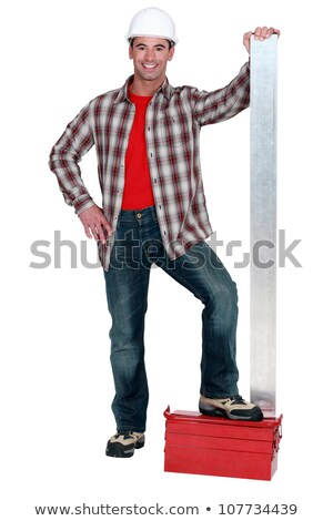 Man stood with sheet of metal Stock photo © photography33