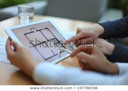 bespreken · plan · huisvesting · drie · nieuwe · project - stockfoto © pressmaster