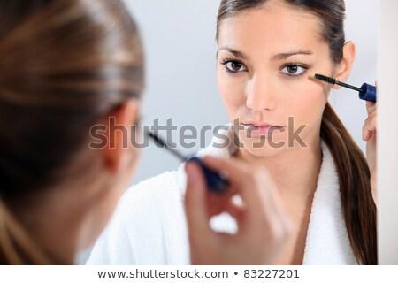 Fiatal barna hajú szemöldökceruza nő arc ceruza Stock fotó © photography33