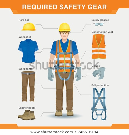 bouwvakker · veiligheid · versnelling · vrouwelijke · veiligheidsuitrusting - stockfoto © lisafx