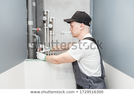 Hydraulik pracy wody rur niebieski zawodowych Zdjęcia stock © photography33