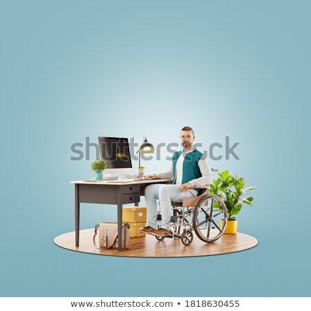 Foto stock: Inválido · trabalhar · 3d · render · um · cadeira · de · rodas · outro