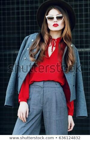 üzletasszony · piros · szemüveg · portré · szürke · öltöny - stock fotó © lunamarina