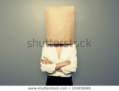 person with paper bag head stock photo © nelosa