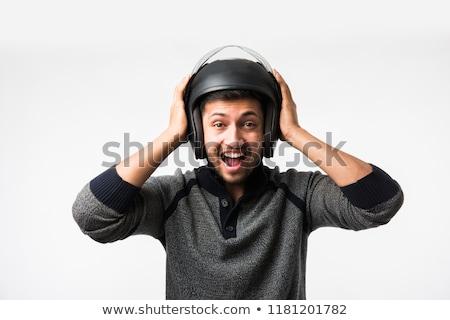 closeup man face wearing helmet Stock photo © chesterf