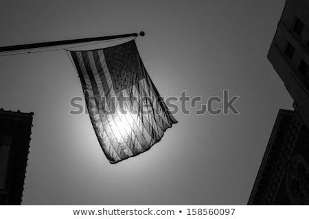 US american symbol flag over Black and white city Stock photo © lunamarina