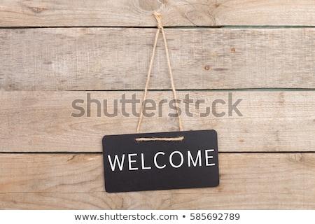 Bienvenue · tableau · noir · blanche · craie · écriture · gomme - photo stock © zerbor