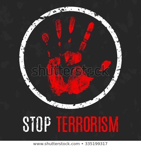 Arrêter terrorisme signe design sang technologie Photo stock © lemonti
