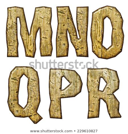 Unique woody letters set isolated on white. Stock photo © Leonardi
