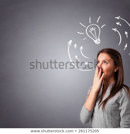 Lady standing and thinking with light bulb overhead Stock photo © HASLOO