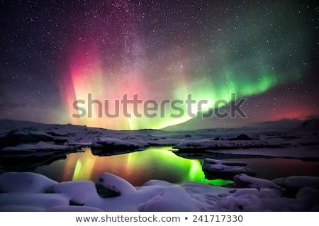 свет Аврора ледник пейзаж снега Сток-фото © vichie81