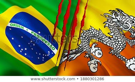 Brazylia Bhutan flagi puzzle odizolowany biały Zdjęcia stock © Istanbul2009
