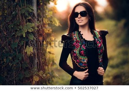 Elegante menina mulher cara gato Foto stock © shawlinmohd