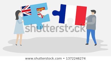 Franciaország Fidzsi-szigetek zászlók puzzle izolált fehér Stock fotó © Istanbul2009