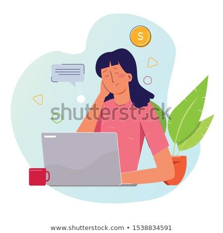 alterar · compras · mujer · sentado · silla · cansado - foto stock © zurijeta