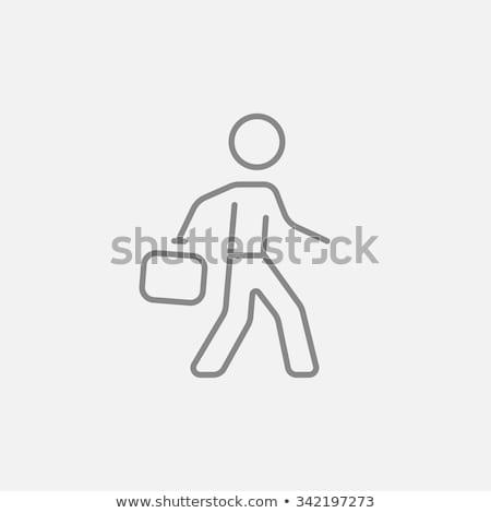 бизнесмен ходьбе портфель линия икона уголки Сток-фото © RAStudio