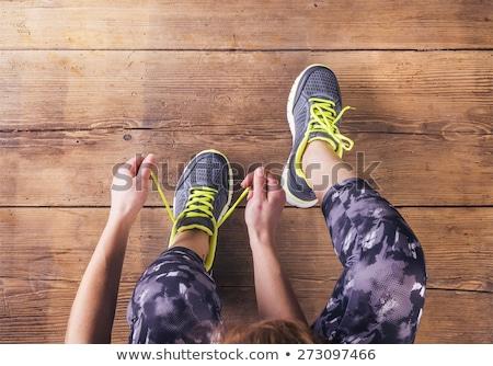Sport cipők padló fapadló textúra fitnessz Stock fotó © fuzzbones0