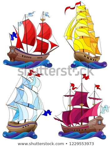 Vitorlás hajó darab kék este égbolt víz Stock fotó © simply