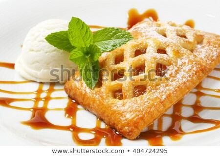 Kicsi sárgabarack pite fagylalt gyümölcs torta Stock fotó © Digifoodstock