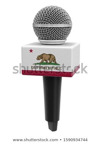 Kaliforniya bayrak mikrofon geleneksel stil grafik Stok fotoğraf © Bigalbaloo