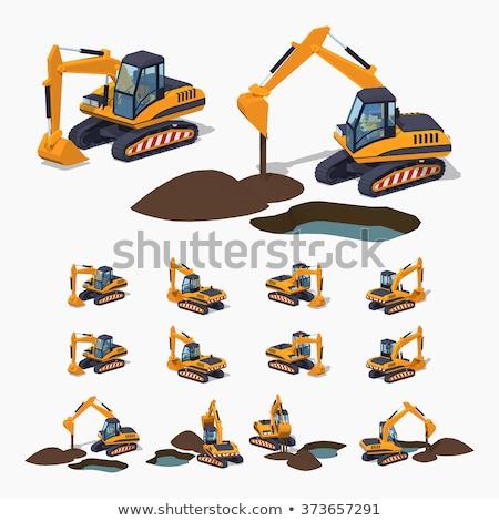 Escavatore lavoro diverso panorama strada sfondo Foto d'archivio © bluering