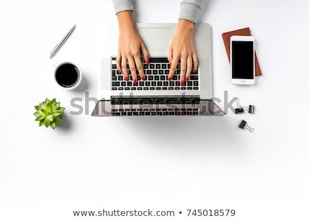Foto stock: Mulher · de · negócios · trabalhando · laptop · isolado · branco · um