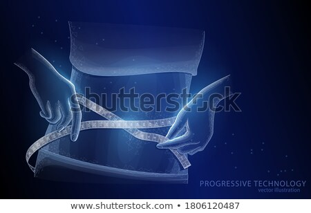 Woman holding meter measuring perfect shape of her beautiful body Stock photo © master1305