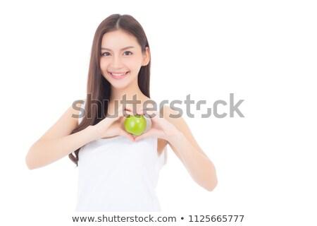 jeunes · athlétique · femme · vert · pomme - photo stock © deandrobot